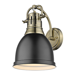 Duncan Aged Brass and Black Eight-Inch One-Light Wall Sconce