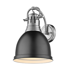 Duncan Pewter and Black Eight-Inch One-Light Wall Sconce