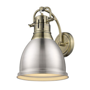 Duncan Aged Brass Nine-Inch One-Light Wall Sconce with a Pewter Shade