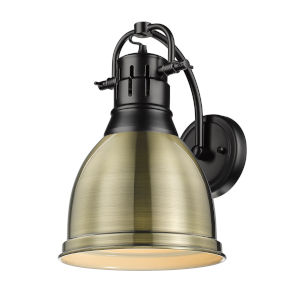 Duncan Matte Black Nine-Inch One-Light Wall Sconce with an Aged Brass Shade