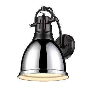 Duncan Matte Black Nine-Inch One-Light Wall Sconce with a Chrome Shade