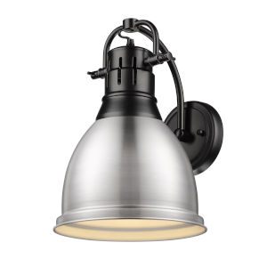 Duncan Matte Black Nine-Inch One-Light Wall Sconce with a Pewter Shade