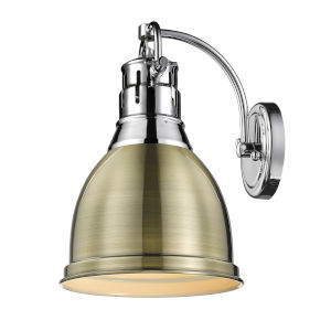 Duncan CH Chrome Nine-Inch One-Light Wall Sconce with an Aged Brass Shade