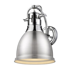 Duncan CH Chrome Nine-Inch One-Light Wall Sconce with a Pewter Shade
