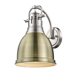 Duncan PW Pewter Nine-Inch One-Light Wall Sconce with an Aged Brass Shade