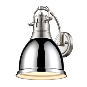 Duncan PW Pewter Nine-Inch One-Light Wall Sconce with a Chrome Shade