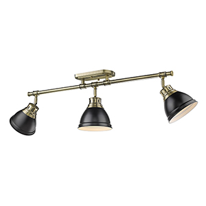 Duncan Aged Brass and Black 35-Inch Three-Light Track Light