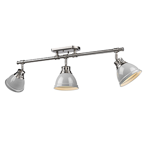 Duncan Pewter Three-Light Semi-Flush Mount