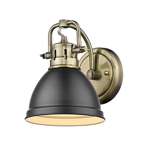 Duncan Aged Brass and Black Six-Inch One-Light Bath Wall Sconce