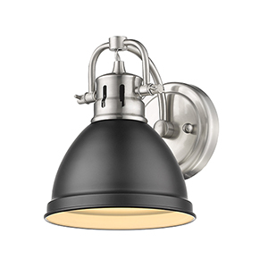 Duncan Pewter and Black Six-Inch One-Light Bath Wall Sconce