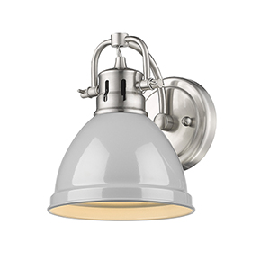Duncan Pewter Six-Inch One-Light Bath Wall Sconce