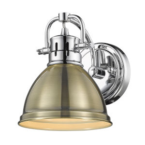 Duncan CH Chrome Seven-Inch One-Light Bath Vanity with Aged Brass Shade