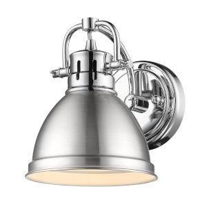 Duncan CH Chrome Seven-Inch One-Light Bath Vanity with Pewter Shade