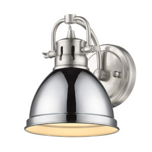 Duncan PW Pewter Seven-Inch One-Light Bath Vanity with Chrome Shade