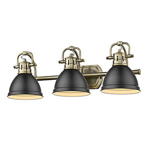 Duncan Aged Brass and Black 24-Inch Three-Light Bath Vanity
