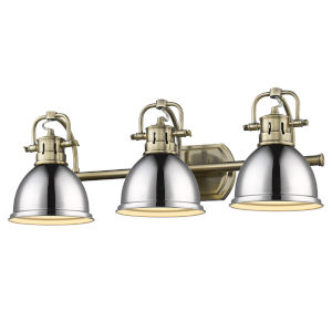 Duncan Aged Brass 25-Inch Three-Light Bath Vanity with Chrome Shade
