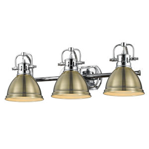Duncan CH Chrome 25-Inch Three-Light Bath Vanity with Aged Brass Shade