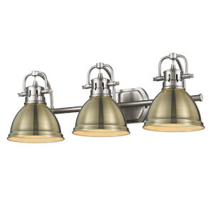 Duncan PW Pewter 25-Inch Three-Light Bath Vanity with Aged Brass Shade