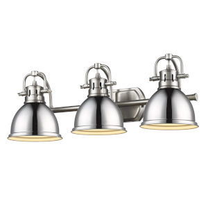 Duncan PW Pewter 25-Inch Three-Light Bath Vanity with Chrome Shade