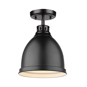 Duncan Black Eight-Inch One-Light Flush Mount