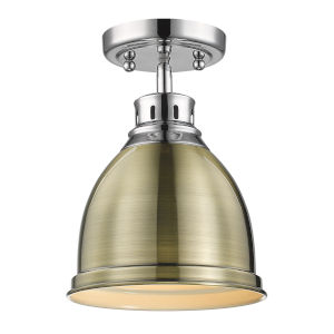 Duncan CH Chrome Nine-Inch One-Light Flush Mount with Aged Brass Shade