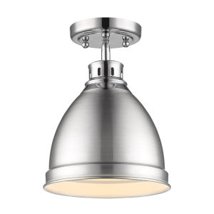 Duncan CH Chrome Nine-Inch One-Light Flush Mount with Pewter Shade