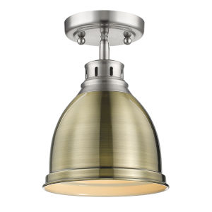 Duncan PW Pewter Nine-Inch One-Light Flush Mount with Aged Brass Shade