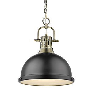 Duncan Aged Brass and Black 16-Inch One-Light Pendant