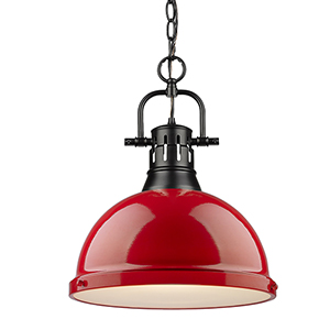 Duncan Black and Red 16-Inch One-Light Pendant