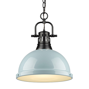 Duncan Black and Sea Foam 16-Inch One-Light Pendant