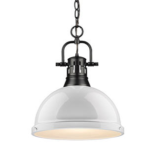 Duncan Black and White 16-Inch One-Light Pendant