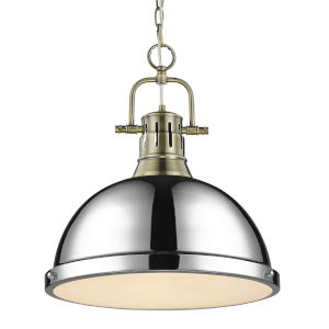 Duncan Aged Brass 14-Inch One-Light Pendant with Chrome Shade