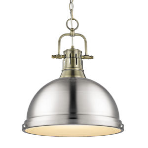 Duncan Aged Brass 14-Inch One-Light Pendant with Pewter Shade