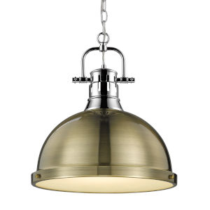 Duncan CH Chrome 14-Inch One-Light Pendant with Aged Brass Shade