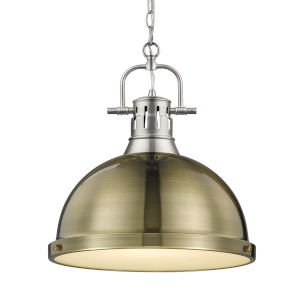Duncan PW Pewter 14-Inch One-Light Pendant with Aged Brass Shade