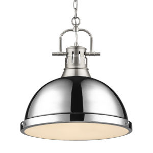 Duncan PW Pewter 14-Inch One-Light Pendant with Chrome Shade