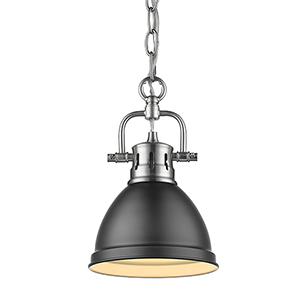 Duncan Pewter and Black 10-Inch One-Light Mini Pendant