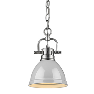 Duncan Pewter and Grey 10-Inch One-Light Mini Pendant