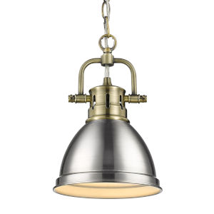 Duncan Aged Brass Seven-Inch One-Light Mini Pendant with Pewter Shade
