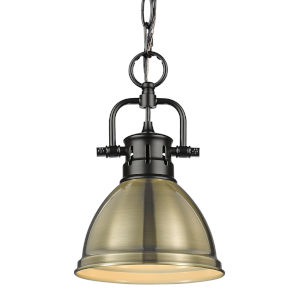 Duncan Matte Black Seven-Inch One-Light Mini Pendant with Aged Brass Shade