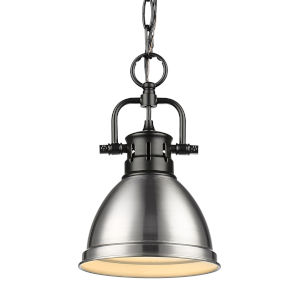 Duncan Matte Black Seven-Inch One-Light Mini Pendant with Pewter Shade