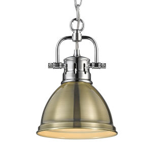 Duncan CH Chrome Seven-Inch One-Light Mini Pendant with Aged Brass Shade