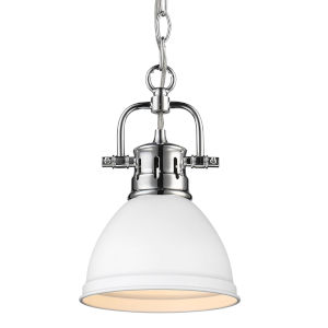 Duncan CH Chrome Seven-Inch One-Light Mini Pendant with Matte White Shade