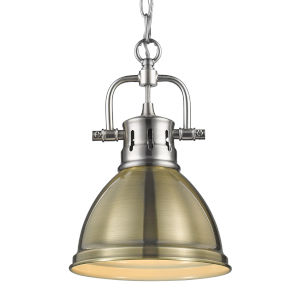 Duncan PW Pewter Seven-Inch One-Light Mini Pendant with Aged Brass Shade