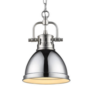 Duncan PW Pewter Seven-Inch One-Light Mini Pendant with Chrome Shade