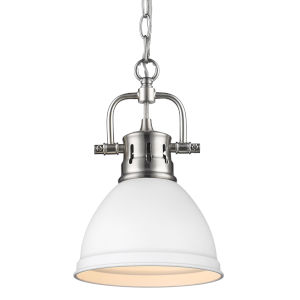 Duncan PW Pewter Seven-Inch One-Light Mini Pendant with Matte White Shade
