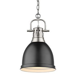 Duncan Pewter and Black 16-Inch One-Light Mini Pendant