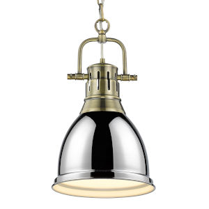 Duncan Aged Brass Nine-Inch One-Light Mini Pendant with Chrome Shade