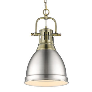 Duncan Aged Brass Nine-Inch One-Light Mini Pendant with Pewter Shade