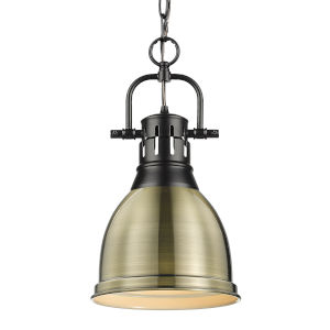 Duncan Matte Black Nine-Inch One-Light Mini Pendant with Aged Brass Shade